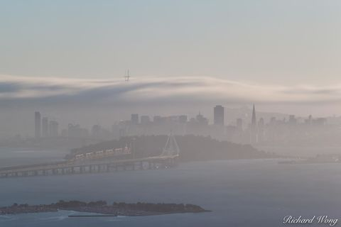 Downtown San Francisco, alameda county, bay bridge, city, cityscape, cloudy, fog, foggy, landscape, long exposure, metropolis, northern california, outdoors, outside, san francisco bay, san francisco