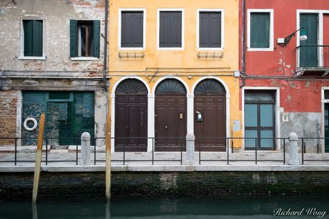 Colorful Buildings Along Canal, Venice, Italy, photo