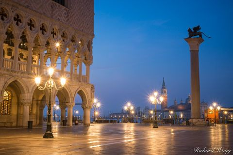 architecture, city, cityscape, dawn, dogeís palace, europe, historic, historical, italia, italy, lights, lion of venice statue, outdoors, outside, palazzo ducale, piazza san marco, san giorgio maggior