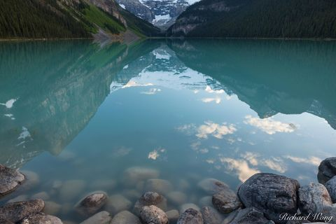 alberta, banff, banff national park, canada, canadian rockies, color image, crescent moon, from shore, from shore point of view, from shore pov, glacial, lac louise, lake, lake louise, lakes, landscap