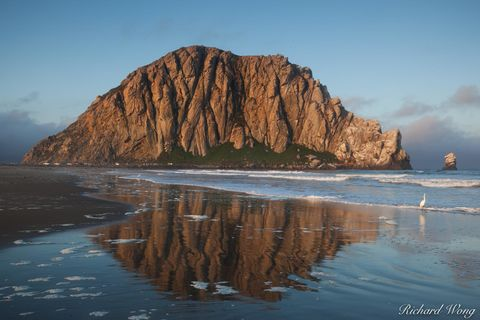 Morro Rock Reflection in Tide, Morro Bay, California, photo
