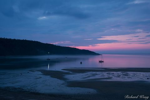 baie de tadoussac, boats, canada, cote-nord, dawn, fog, historic, morning, north america, outdoors, outside, province, quebec, saguenay river, saint lawrence river, scenery, scenic, seascape, st lawre