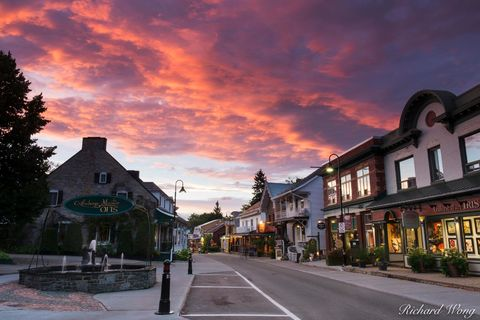 alpenglow, baie-saint-paul, canada, charlevoix region, dusk, evening, exterior, north america, outdoors, outside, province, quebec, rue-sainte anne, street, sunset, travel