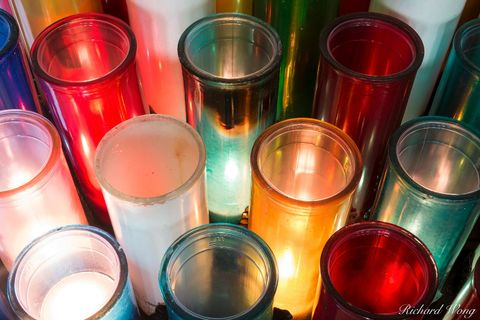 baie-saint-paul, canada, charlevoix region, christian church, christianity, colors, devotion candles, devotional, inside, north america, prayer candle, province, quebec, religion, religious