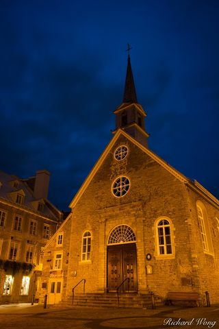 architecture, basse-ville, building, canada, christian, christianity, dawn, eglise notre-dame-des-victoires church, exterior, historic site, historical, lights, lower town, morning, north america, old