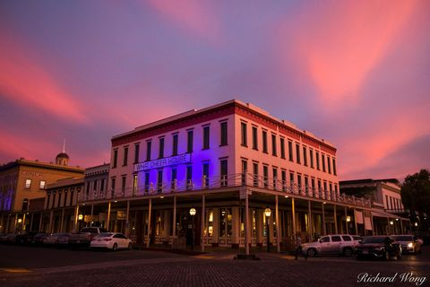 Sacramento, alpenglow, buildings, california central valley, dusk, evening, gold rush era architecture, historical, night, northern california, old sacramento state historic park, old town, outdoors,