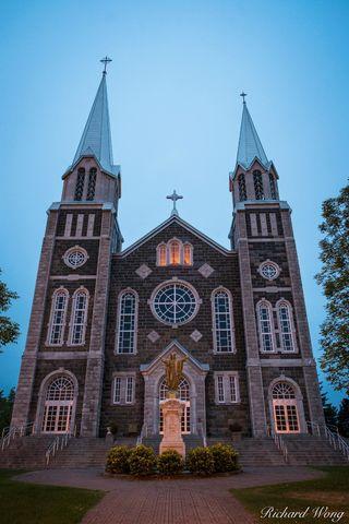 architecture, baie-saint-paul, baie-saint-paul church, building, canada, charlevoix region, christian, christianity, churches, dawn, early morning, exterior, illumination, jesus, lights, north america