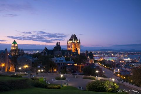 architecture, canada, city, cityscape, dusk, evening, fairmont le chateau frontenac, haute-ville, historic site, historical, hotel, landscape, lights, night, north america, old town, outdoors, outside
