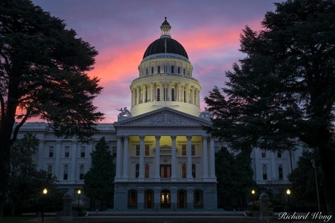 Sacramento, alpenglow, architecture, building, california state capitol, city, dome, dusk, exterior, government, illuminated, illumination, lights, morning, neoclassical structure, outdoors, outside,