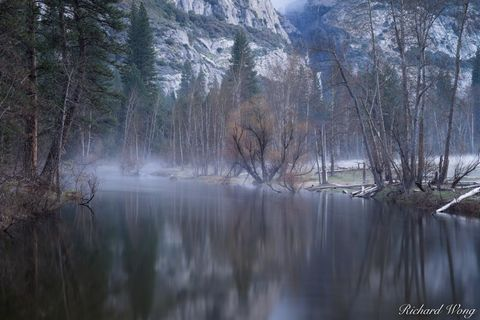 California, dawn, falls, fog, foggy, forest, forests, landscape, landscapes, mariposa county, merced river, morning, nature, outdoor, outside, reflections, scenery, scenic nature, sierra nevada mounta