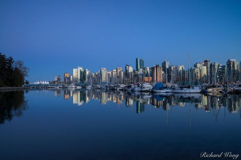 bc, british columbia, buildings, canada, city, cityscape, coal harbour marina, downtown vancouver, dusk, evening, landscape, metro, metropolis, nature, night, north america, outdoors, outside, reflect