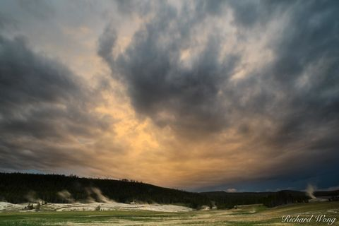 clouds, dusk, evening, geothermal activity, geysers, landscape, national park system, nature, north america, np, nps, old faithful, outdoors, outside, rocky mountains, scenery, scenic, storm, sunset,