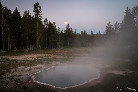 dawn, full moon, geothermal activity, geysers, landscape, moonset, morning, national park system, nature, north america, np, nps, outdoors, outside, rocky mountains, scenery, scenic, shield spring, st