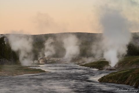 Firehole River at Dawn, Yellowstone National Park, Wyoming, photo