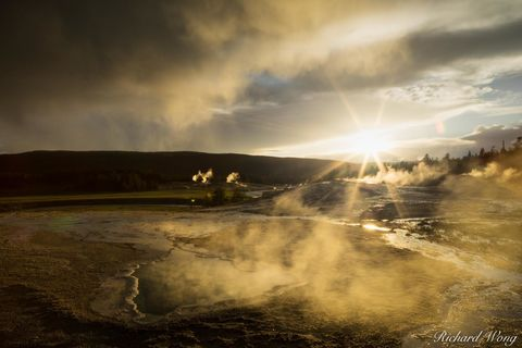 backlighting, backlit, dawn, dusk, evening, geothermal activity, heart spring, heat, hot, hot spring, landscape, national park system, nature, north america, np, nps, outdoors, outside, rocky mountain