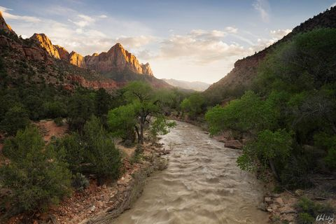 peter lik zion style photo, The Watchman and the Virgin River, Zion National Park, Utah