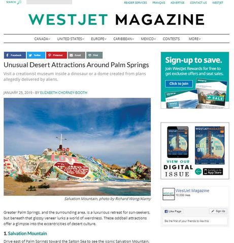 Westjet Magazine - Salvation Mountain Photo by Richard Wong