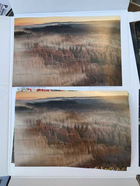 """""""Bryce Canyon's Inspiration Point"""" Test Prints"""