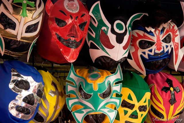 Mexican Luchador Lucha Libre Wrestling Masks at Olvera Street, Los Angeles, California, photo