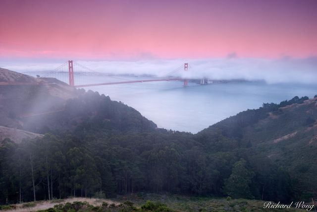 California, bridges, cloud, coast, dusk, foggy, golden gate bridge, iconic landmarks, landmark, landscapes, low clouds, marin headlands, mountain, mountains, san francisco, scenery, scenic landscape,