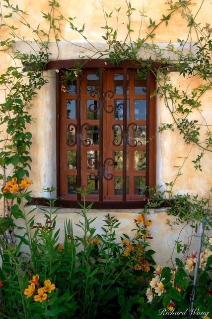 carmel mission, garden window, california, photo