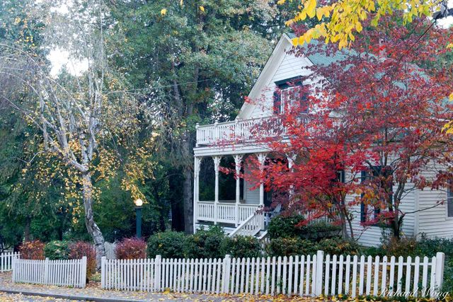 Victorian Home with Fall Foliage, Nevada City, California, photo