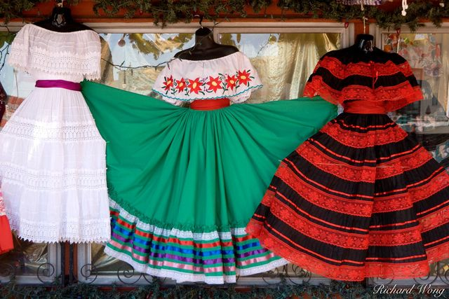 Mexican Dresses Hanging on Window Sill at Olvera Street, Los Angeles, California, photo