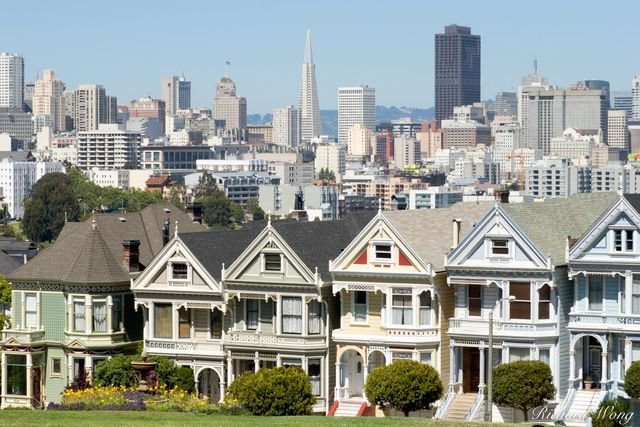 Downtown Scenic View From Alamo Square Postcard Row, San Francisco, California, photo