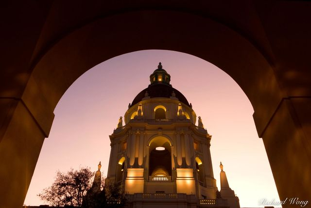 Pasadena City Hall Italian Renaissance Style Dome Framed by Arch, Pasadena, California, photo