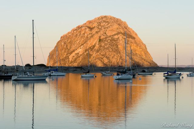 Sunrise Light on Morro Rock, Morro Bay, California, photo