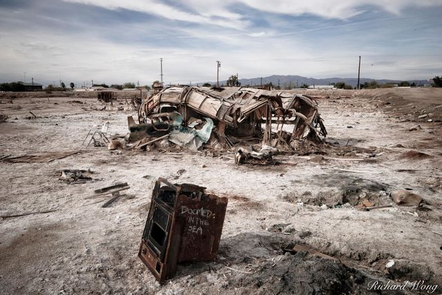 Abandoned RV Trailer Buried in Mud near Salton Sea, Bombay Beach, California, photo