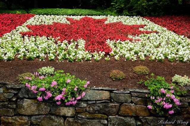 Minter Gardens Canadian Maple Leaf Flag Floral Display, Chilliwack, B.C., photo