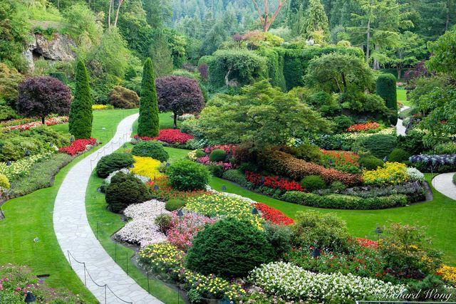 butchart gardens, sunken garden overlook, vancouver island, canada, british columbia, photo