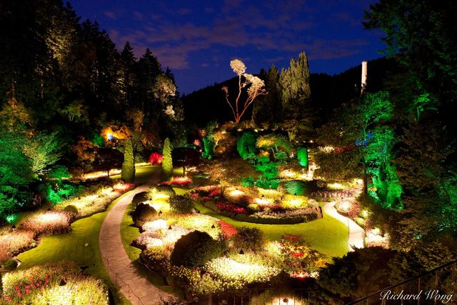 Sunken Garden Overlook Night View at the Butchart Gardens, Brentwood Bay, Vancouver Island, B.C.