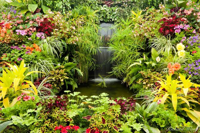 Show Greenhouse Waterfall at the Butchart Gardens, Vancouver Island, B.C., photo