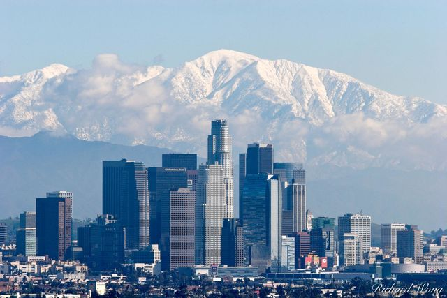 Los Angeles Skyline with Snowy Mount Baldy in Background, California, photo