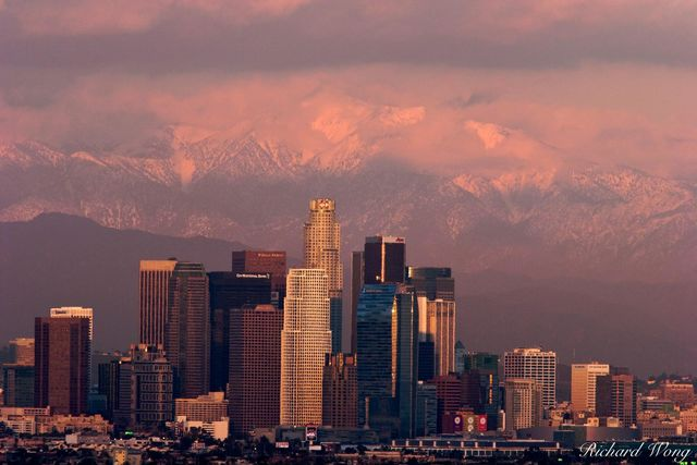 Winter Storm Sunset, Los Angeles, California, photo