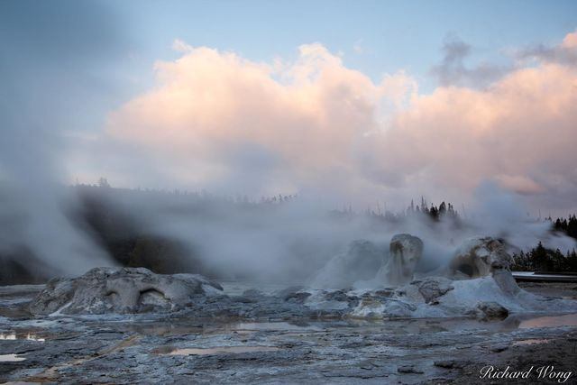 Grotto Geyser in Upper Geyser Basin at Sunset, Yellowstone National Park, Wyoming, photo