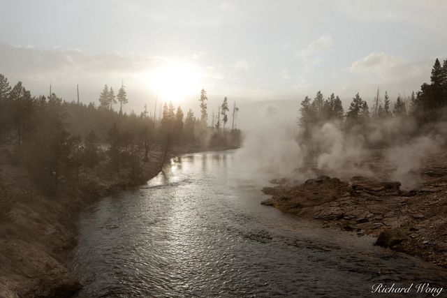 Snowing at Sunset Along Firehole River (Upper Geyser Basin), Yellowstone National Park, Wyoming, photo