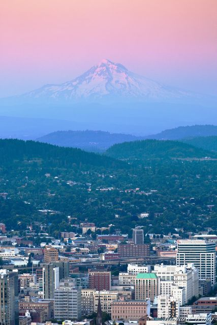 Downtown Portland with Mount Hood in Background at Sunset, Portland, Oregon, photo
