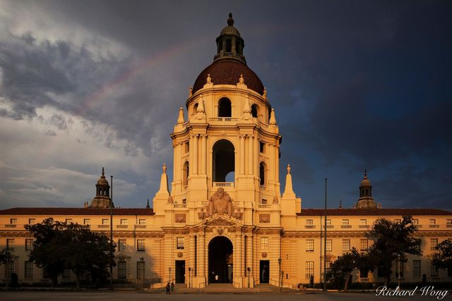 Rainbow Over Pasadena City Hall, California, photo