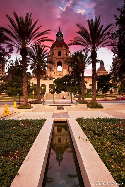 Pasadena City Hall Dome Reflection in Pond, Pasadena, California, photo