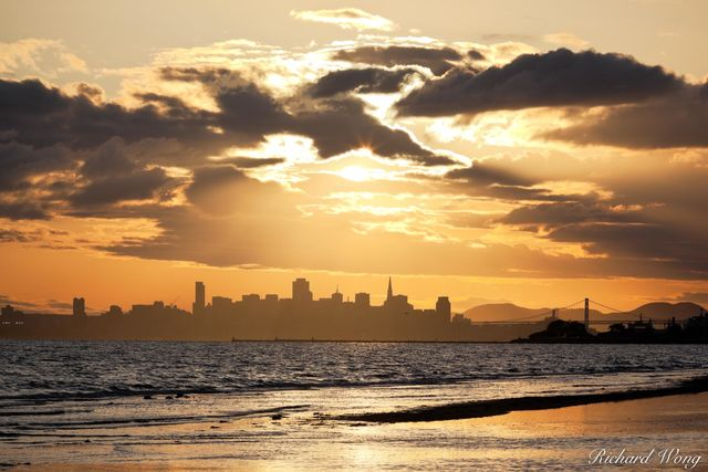 Crown Memorial Beach Sunset With Downtown San Francisco Skyline in Background, Alameda, California, photo