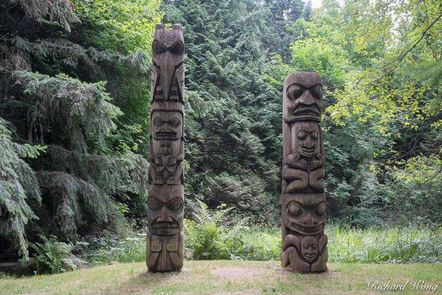 Totem Poles, VanDusen Botanical Garden, Vancouver, B.C., photo