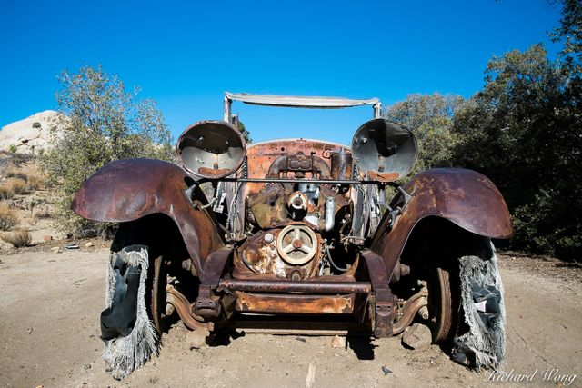Abandoned Car at Wall Street Mill, Joshua Tree National Park, California, photo