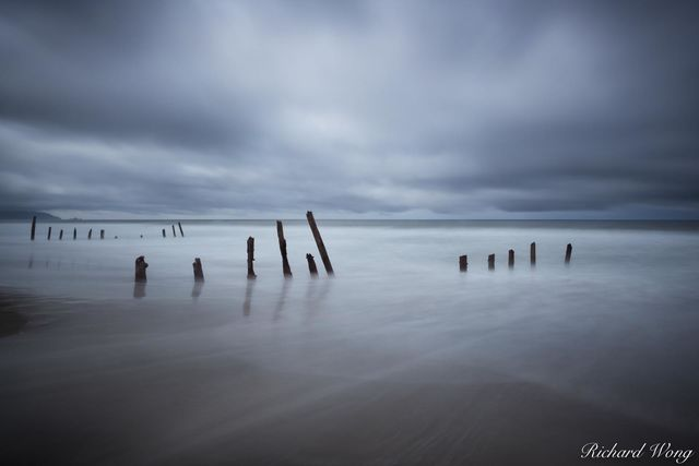 Fort Funston Beach Pilings in Rain Storm, San Francisco, California, photo