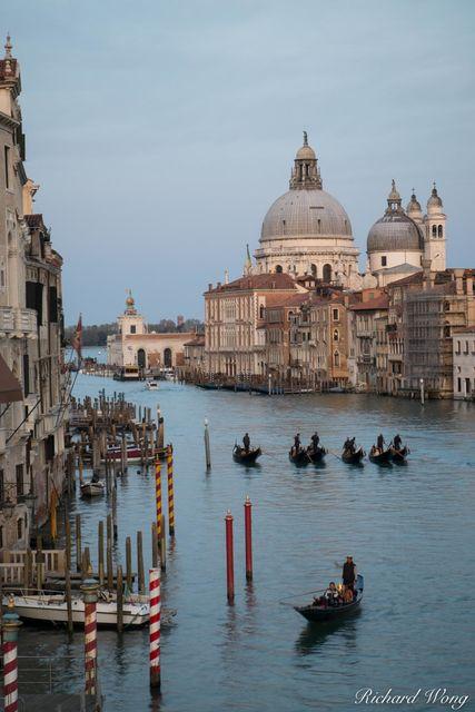 Gondolas at Sunset From Accademia Bridge, Venice, Italy, photo