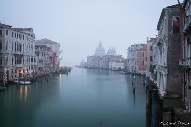 Foggy Morning on Grand Canal From Accademia Bridge, Venice, Italy, photo
