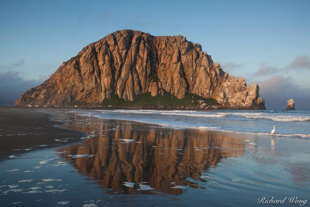 Morro Rock Reflection in Tide, Morro Bay, California, photo
