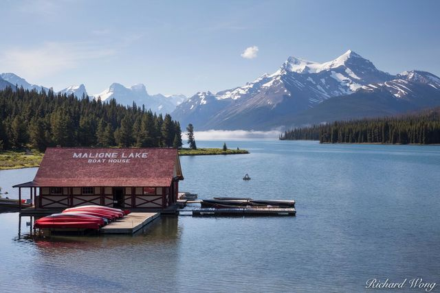 Maligne Lake Boat House, Jasper National Park, Alberta, Canada, Photo